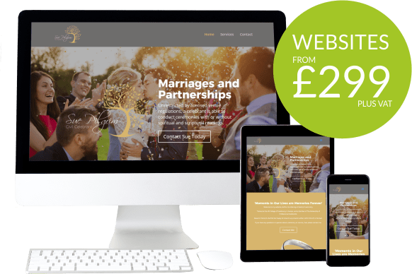 Graphic showing a responsive website with a caption saying websites from £299 plus vat